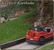 Bei einer Fahrt auf der Elektro Kartbahn im Freizeitpark die Wartburg entdecken